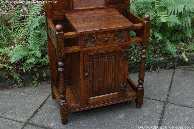 Image 31 of AN OLD CHARM JAYCEE LIGHT OAK HALL COAT STICK STAND CABINET