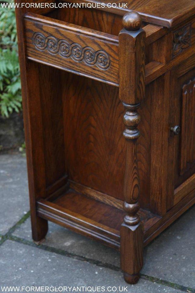 Image 32 of AN OLD CHARM JAYCEE LIGHT OAK HALL COAT STICK STAND CABINET