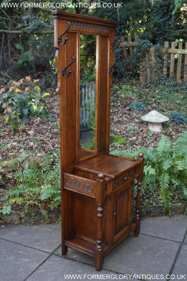 Image 33 of AN OLD CHARM JAYCEE LIGHT OAK HALL COAT STICK STAND CABINET