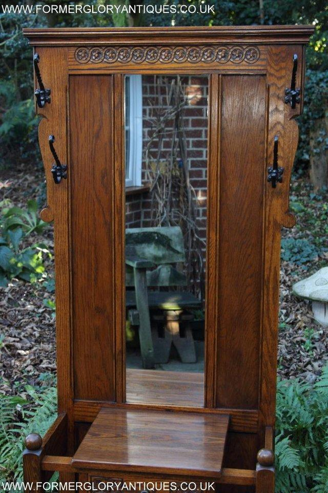 Image 35 of AN OLD CHARM JAYCEE LIGHT OAK HALL COAT STICK STAND CABINET