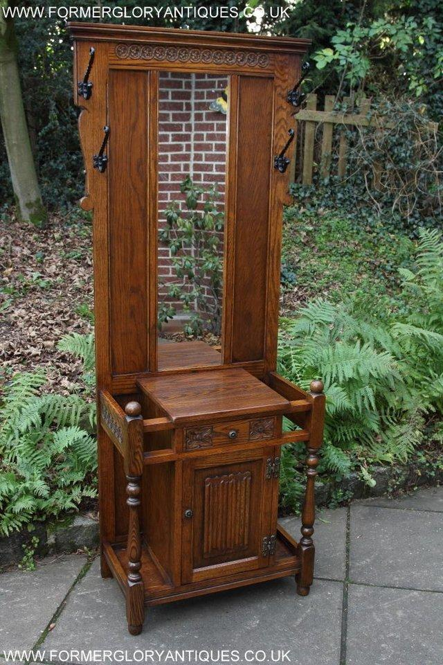 Image 36 of AN OLD CHARM JAYCEE LIGHT OAK HALL COAT STICK STAND CABINET