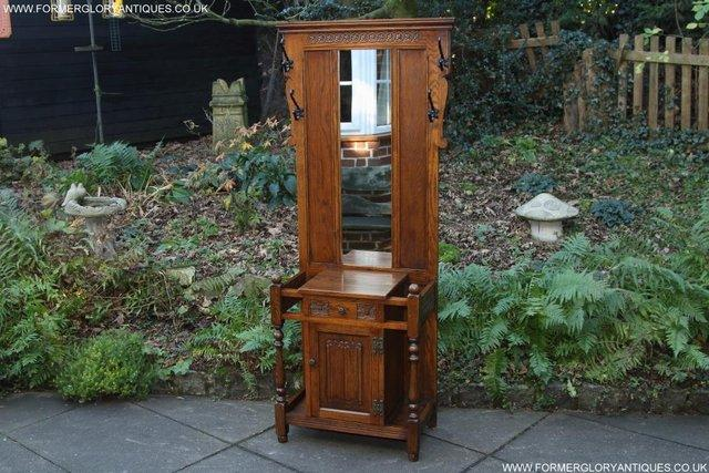 Image 37 of AN OLD CHARM JAYCEE LIGHT OAK HALL COAT STICK STAND CABINET