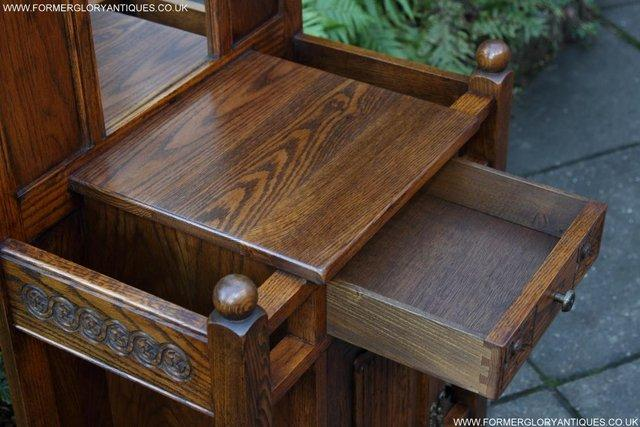 Image 39 of AN OLD CHARM JAYCEE LIGHT OAK HALL COAT STICK STAND CABINET