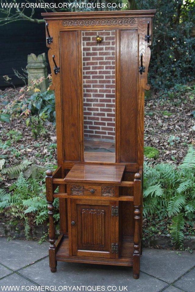 Image 41 of AN OLD CHARM JAYCEE LIGHT OAK HALL COAT STICK STAND CABINET