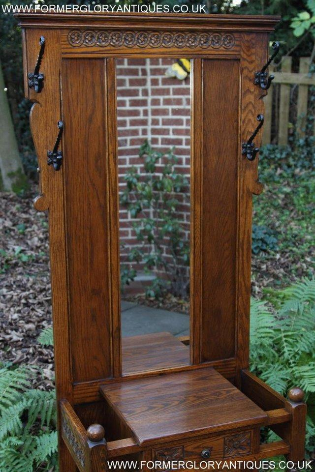 Image 42 of AN OLD CHARM JAYCEE LIGHT OAK HALL COAT STICK STAND CABINET