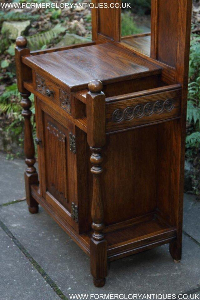 Image 43 of AN OLD CHARM JAYCEE LIGHT OAK HALL COAT STICK STAND CABINET