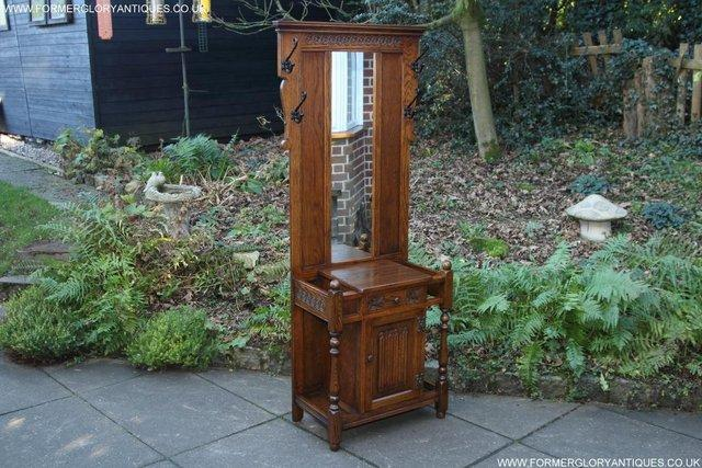 Image 49 of AN OLD CHARM JAYCEE LIGHT OAK HALL COAT STICK STAND CABINET