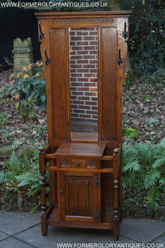 Image 50 of AN OLD CHARM JAYCEE LIGHT OAK HALL COAT STICK STAND CABINET