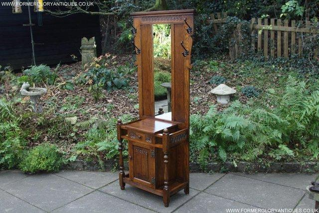 Image 51 of AN OLD CHARM JAYCEE LIGHT OAK HALL COAT STICK STAND CABINET