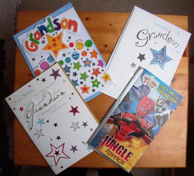Preview of the first image of 4 unused Grandson birthday cards + envelopes. £1 ea/£3 lot..