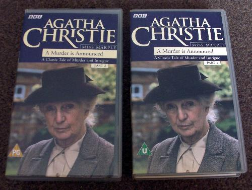 """Preview of the first image of Agatha Christie """"Murder Is Announced"""" Part 1 & 2 Video Set."""