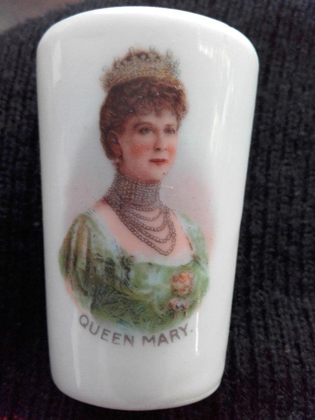 Preview of the first image of Antique Miniature Porcelain Queen Mary Beaker.