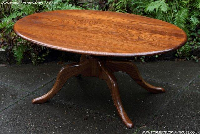 Ercol Elm Oval Side Lamp Phone Tea Wine Coffee Table Stand