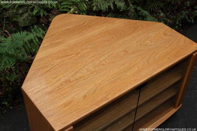 Image 4 of ERCOL WINDSOR LIGHT ELM CORNER TV CABINET STAND TABLE UNIT