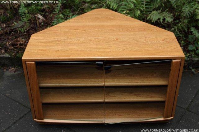 Image 8 of ERCOL WINDSOR LIGHT ELM CORNER TV CABINET STAND TABLE UNIT