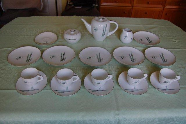 ... fine bone china made by Sango in their Bamboo pattern with a u0027platinumu0027 trim. It is in lovely condition with almost no marks of wear and tear except. & tea cups and saucers - Second Hand Cutlery and Crockery Buy and ...
