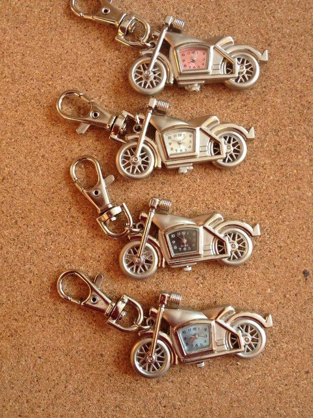 Preview of the first image of 4 x Motorbike Keyring with Quartz clocks brand new.