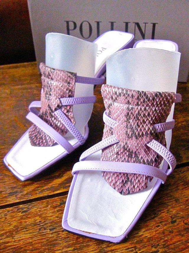 Preview of the first image of 'POLLINI' Lilac Snakeskin Stiletto Mules BNIB!.