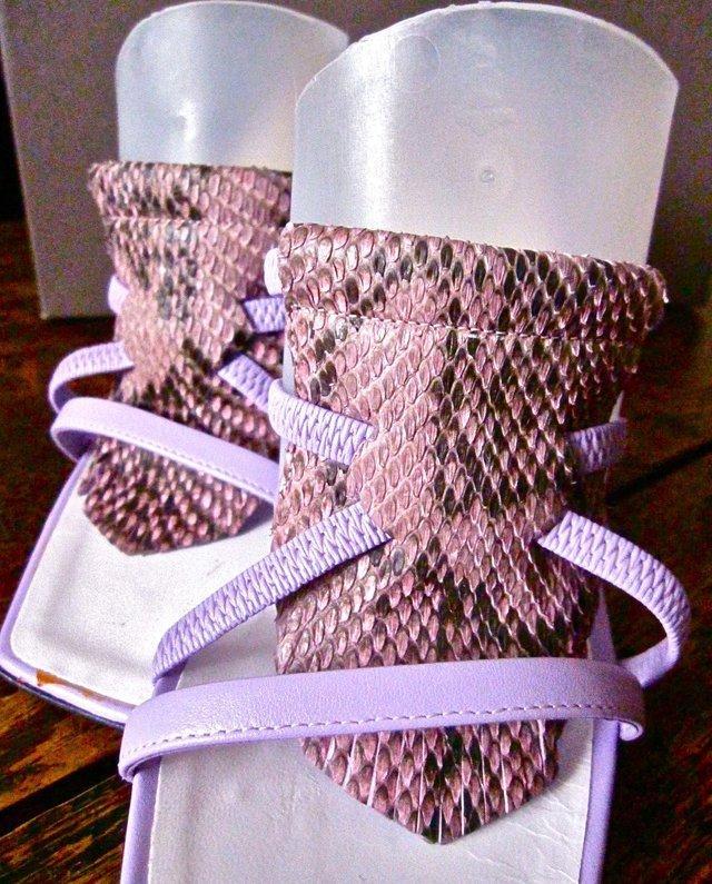 Image 2 of 'POLLINI' Lilac Snakeskin Stiletto Mules BNIB!