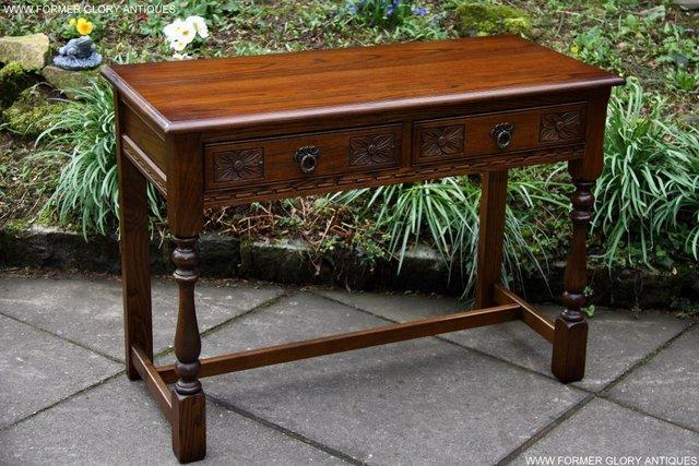 Image 2 of AN OLD CHARM LIGHT OAK LAMP PHONE HALL TABLE STAND SIDEBOARD