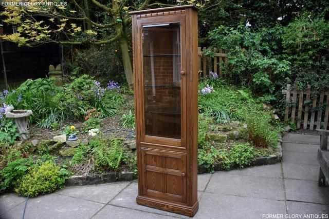 Image 2 of AN ERCOL GOLDEN DAWN CORNER DISPLAY CABINET CUPBOARD STAND