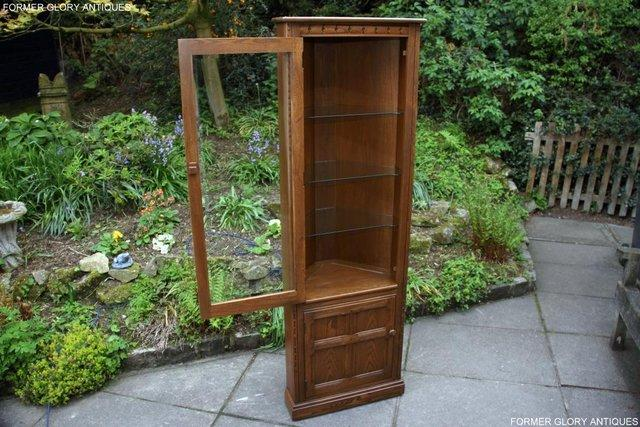 Image 3 of AN ERCOL GOLDEN DAWN CORNER DISPLAY CABINET CUPBOARD STAND