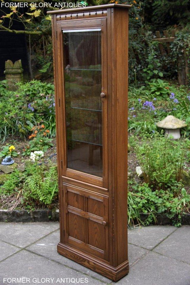 Image 6 of AN ERCOL GOLDEN DAWN CORNER DISPLAY CABINET CUPBOARD STAND