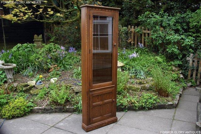 Image 8 of AN ERCOL GOLDEN DAWN CORNER DISPLAY CABINET CUPBOARD STAND