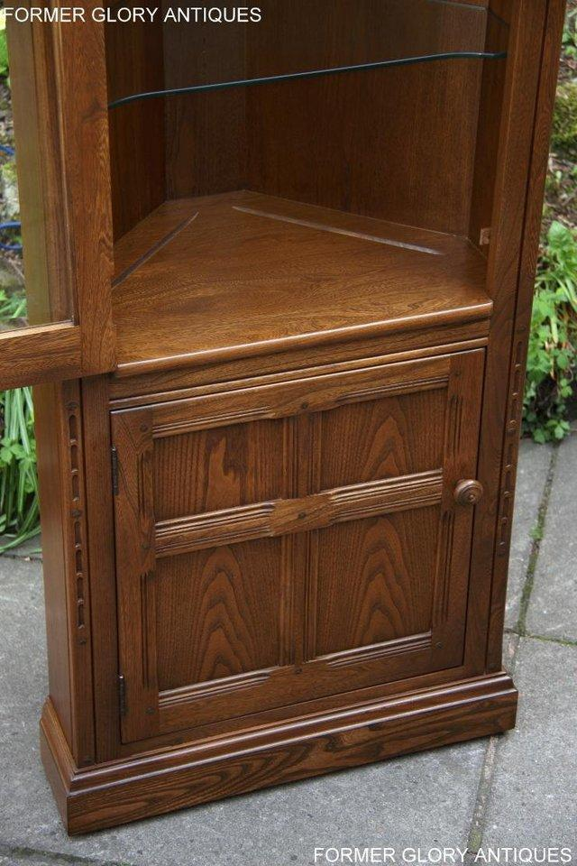 Image 10 of AN ERCOL GOLDEN DAWN CORNER DISPLAY CABINET CUPBOARD STAND