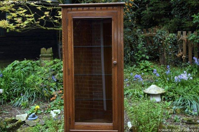 Image 12 of AN ERCOL GOLDEN DAWN CORNER DISPLAY CABINET CUPBOARD STAND