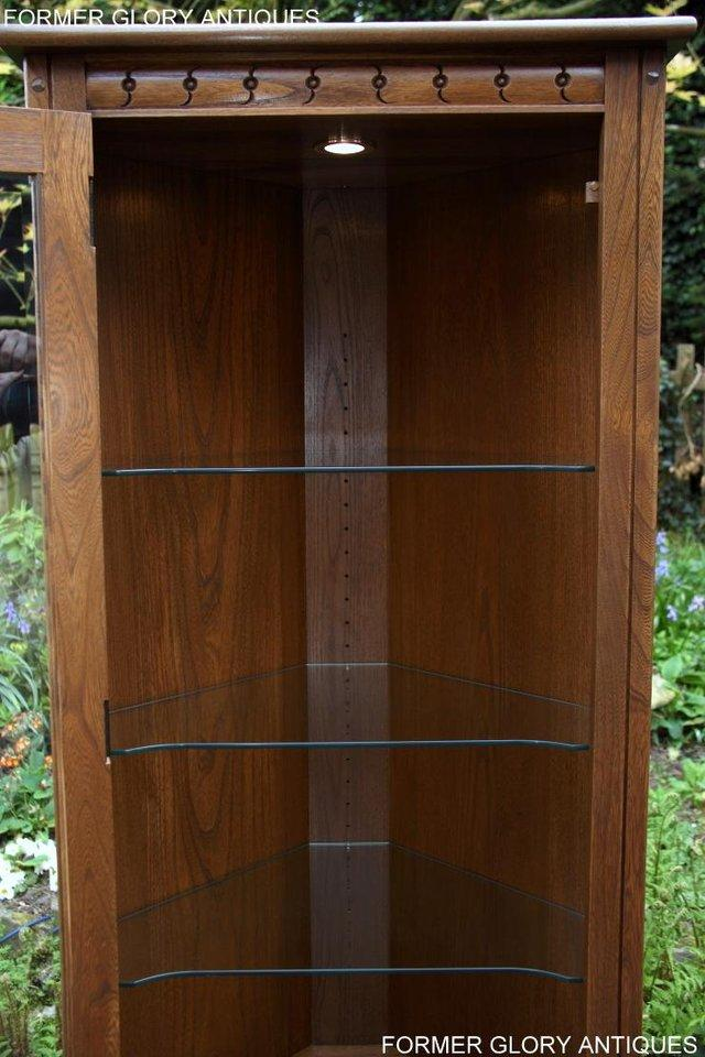 Image 13 of AN ERCOL GOLDEN DAWN CORNER DISPLAY CABINET CUPBOARD STAND