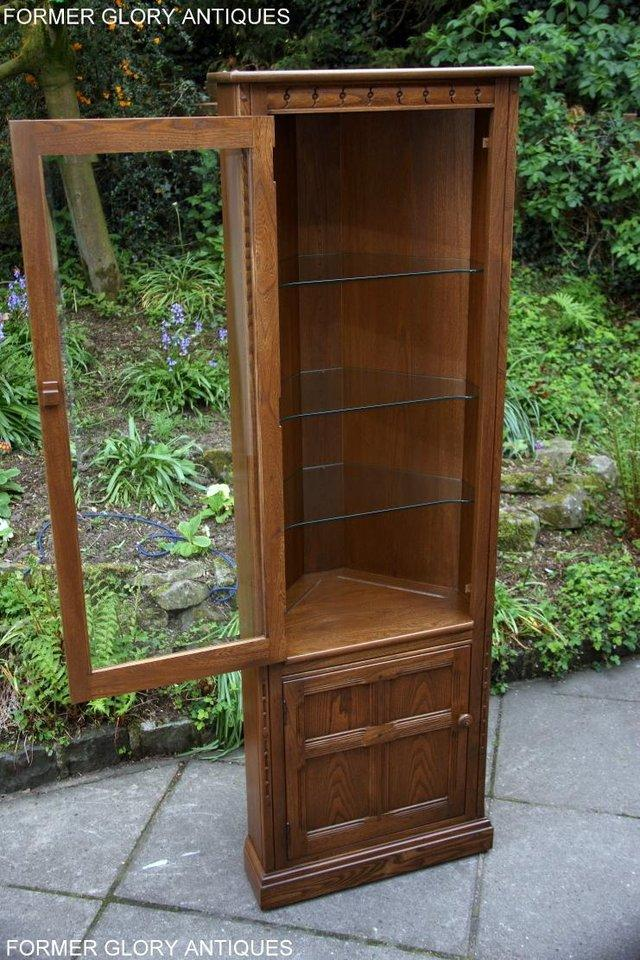 Image 16 of AN ERCOL GOLDEN DAWN CORNER DISPLAY CABINET CUPBOARD STAND