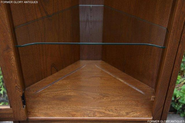 Image 19 of AN ERCOL GOLDEN DAWN CORNER DISPLAY CABINET CUPBOARD STAND