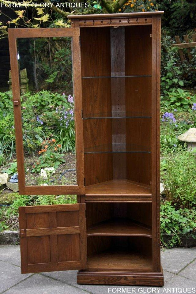 Image 20 of AN ERCOL GOLDEN DAWN CORNER DISPLAY CABINET CUPBOARD STAND