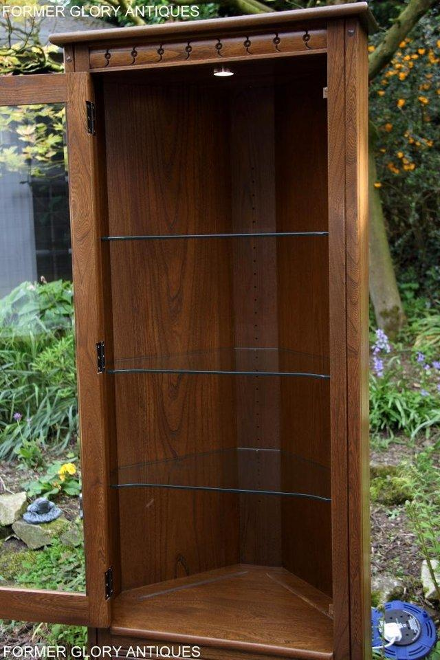 Image 21 of AN ERCOL GOLDEN DAWN CORNER DISPLAY CABINET CUPBOARD STAND