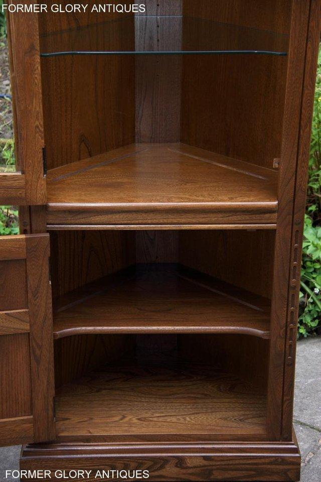 Image 31 of AN ERCOL GOLDEN DAWN CORNER DISPLAY CABINET CUPBOARD STAND