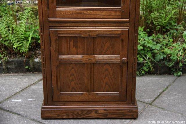 Image 35 of AN ERCOL GOLDEN DAWN CORNER DISPLAY CABINET CUPBOARD STAND