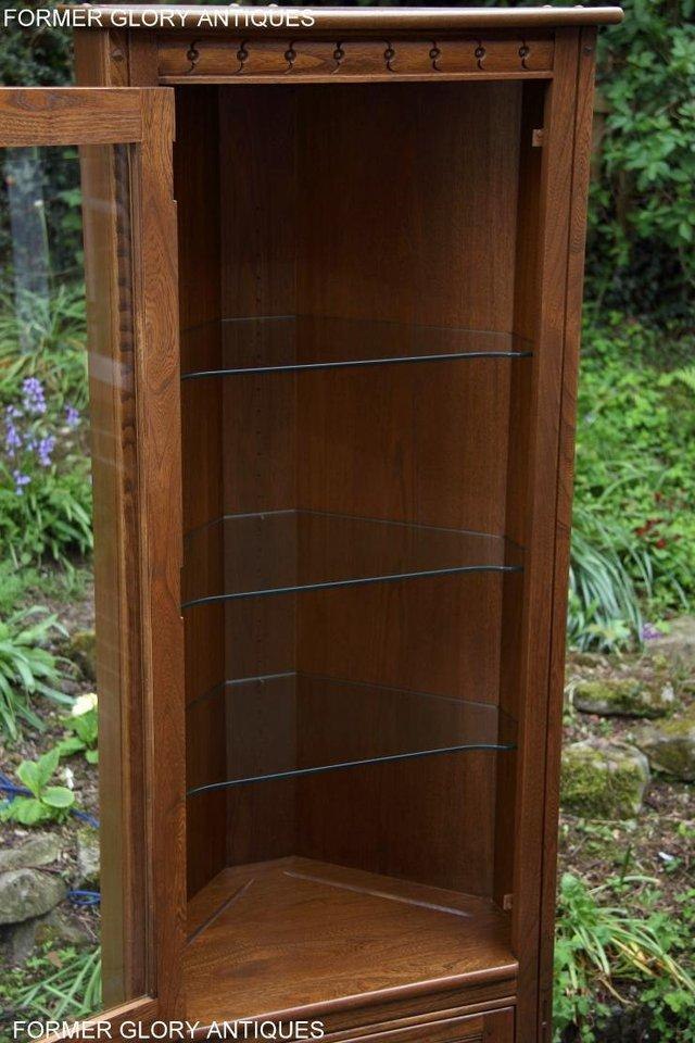 Image 37 of AN ERCOL GOLDEN DAWN CORNER DISPLAY CABINET CUPBOARD STAND