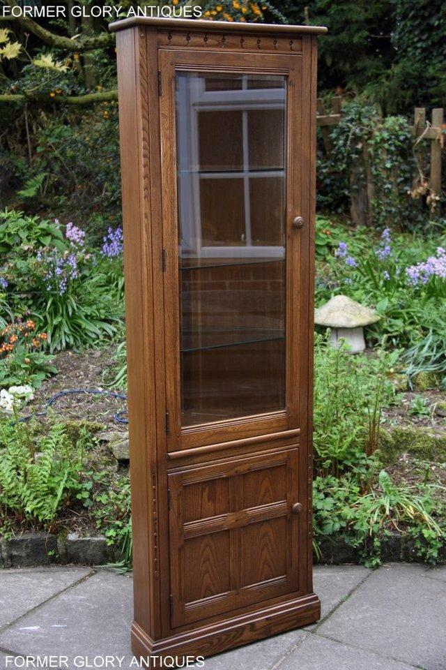 Image 39 of AN ERCOL GOLDEN DAWN CORNER DISPLAY CABINET CUPBOARD STAND
