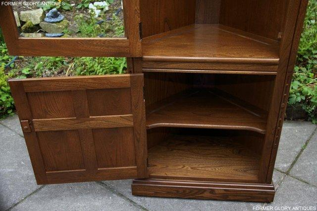 Image 40 of AN ERCOL GOLDEN DAWN CORNER DISPLAY CABINET CUPBOARD STAND