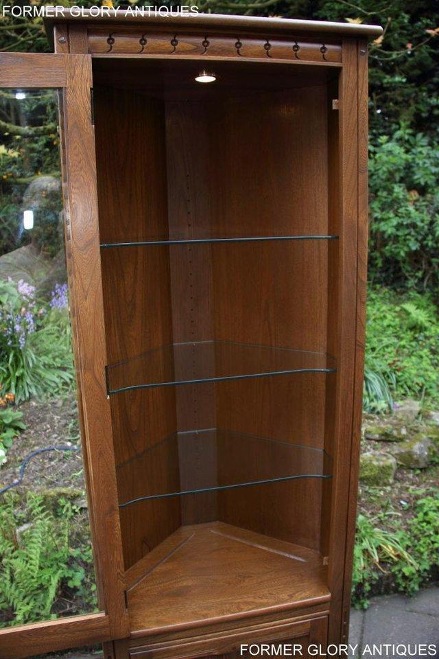 Image 41 of AN ERCOL GOLDEN DAWN CORNER DISPLAY CABINET CUPBOARD STAND
