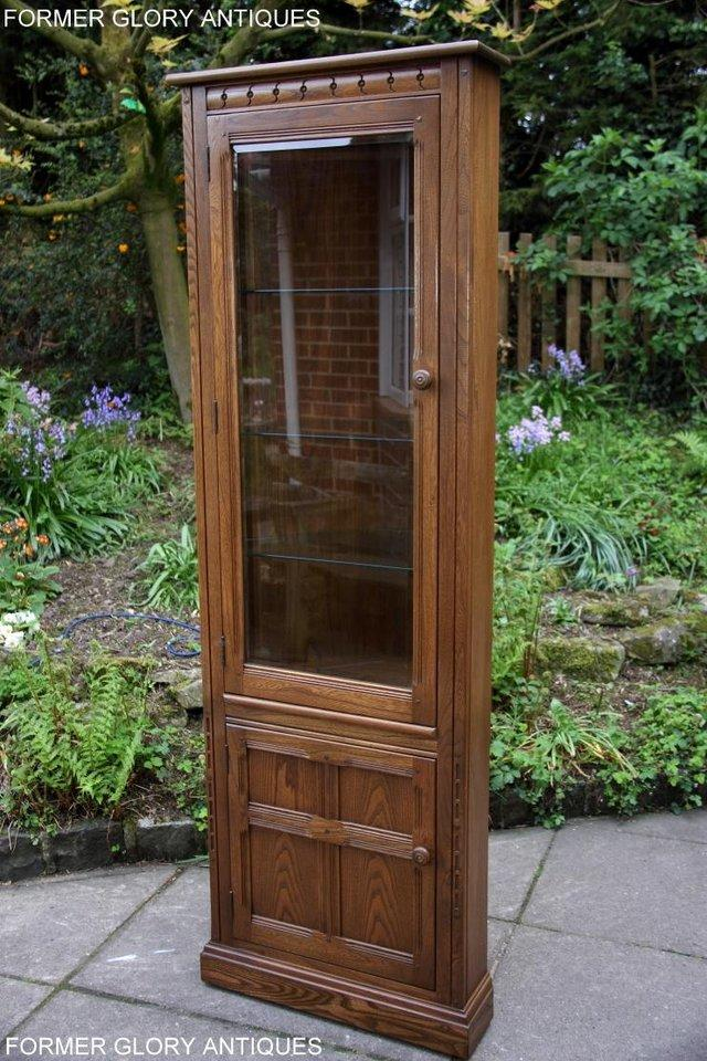 Image 44 of AN ERCOL GOLDEN DAWN CORNER DISPLAY CABINET CUPBOARD STAND