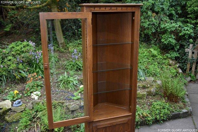 Image 50 of AN ERCOL GOLDEN DAWN CORNER DISPLAY CABINET CUPBOARD STAND