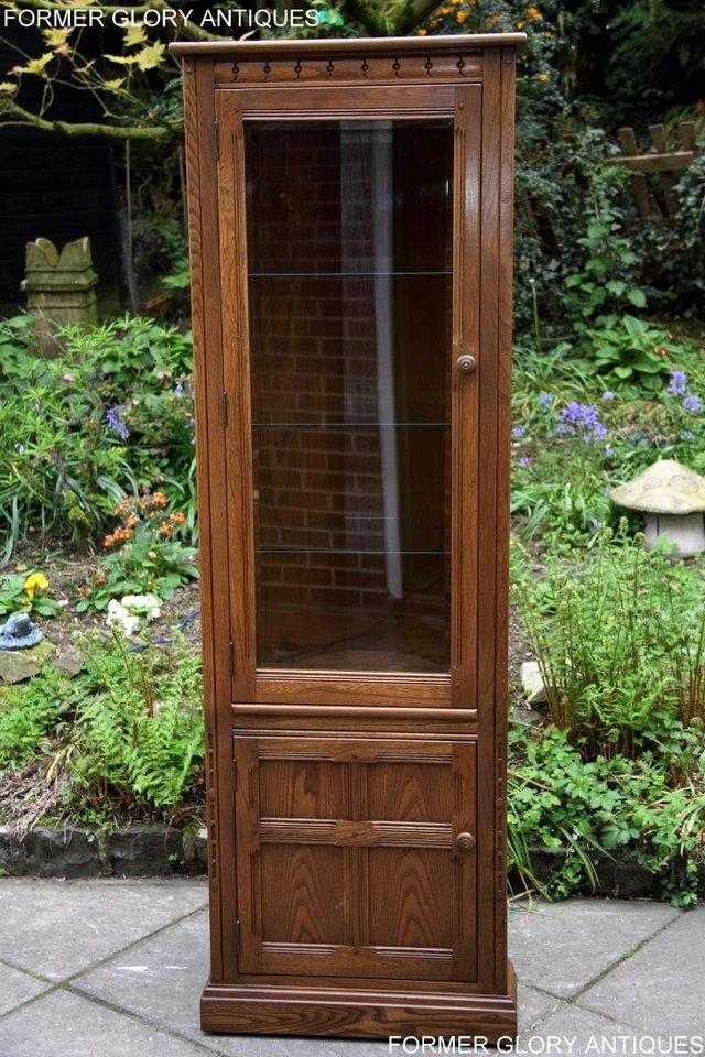 Image 51 of AN ERCOL GOLDEN DAWN CORNER DISPLAY CABINET CUPBOARD STAND