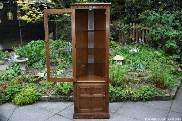 Image 52 of AN ERCOL GOLDEN DAWN CORNER DISPLAY CABINET CUPBOARD STAND