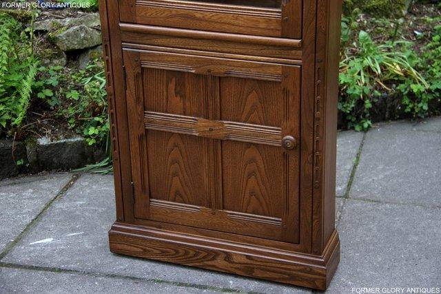 Image 56 of AN ERCOL GOLDEN DAWN CORNER DISPLAY CABINET CUPBOARD STAND