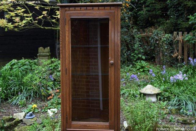 Image 59 of AN ERCOL GOLDEN DAWN CORNER DISPLAY CABINET CUPBOARD STAND