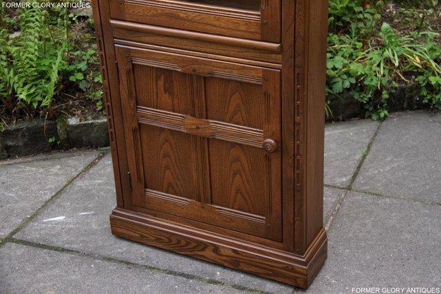 Image 63 of AN ERCOL GOLDEN DAWN CORNER DISPLAY CABINET CUPBOARD STAND