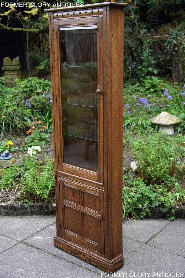 Image 67 of AN ERCOL GOLDEN DAWN CORNER DISPLAY CABINET CUPBOARD STAND