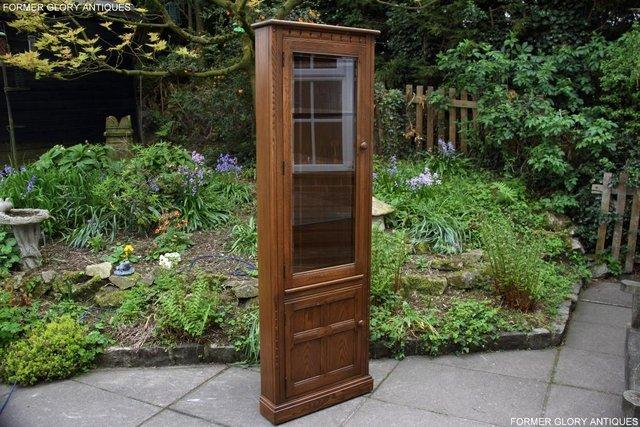Image 68 of AN ERCOL GOLDEN DAWN CORNER DISPLAY CABINET CUPBOARD STAND